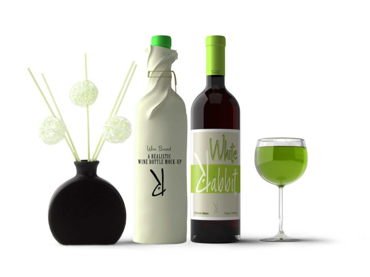 Frosted Green Wine Bottle Mockup