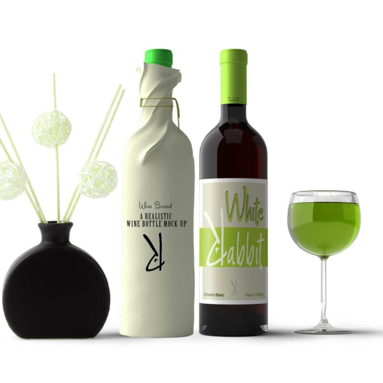 Green Wine Bottle Mockup