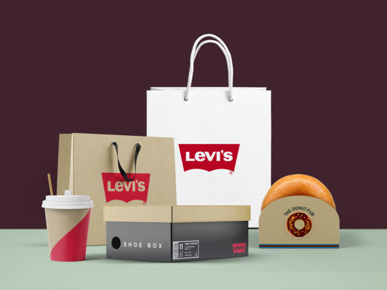 Levi's Full Bag Packaging Mockup