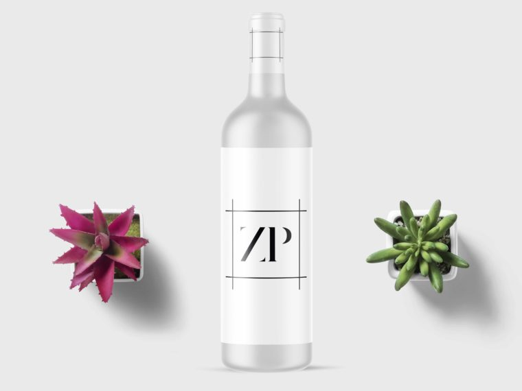 Minimal Wine White Bottle Mockup