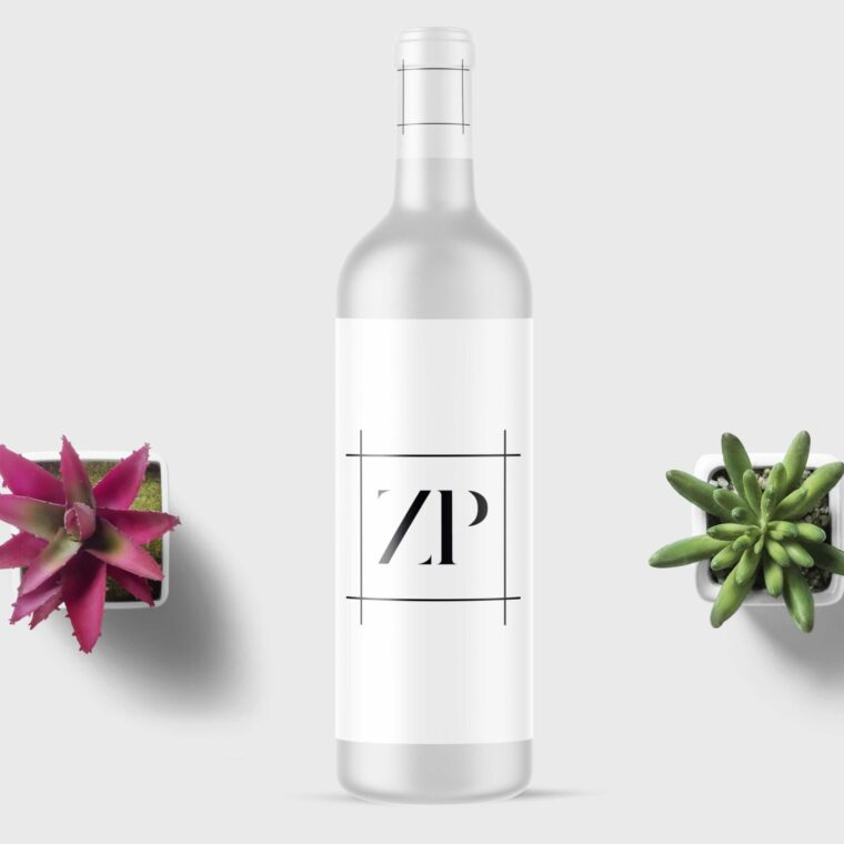 Wine White Bottle Mockup