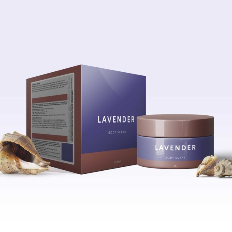 Lavender Body Scrub Packaging Mockup