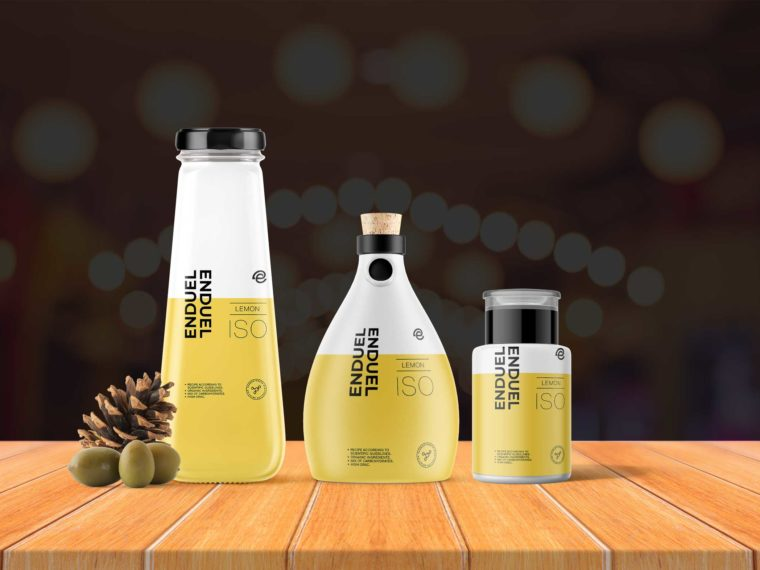 Premium Lemon Oil Bottle Combo Mockup