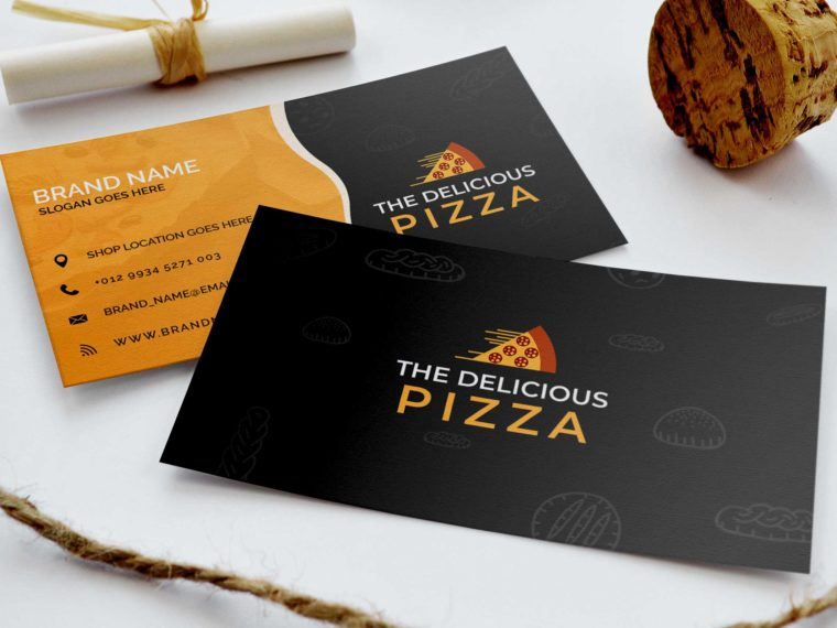 Premium Pizza Business Card Mockup