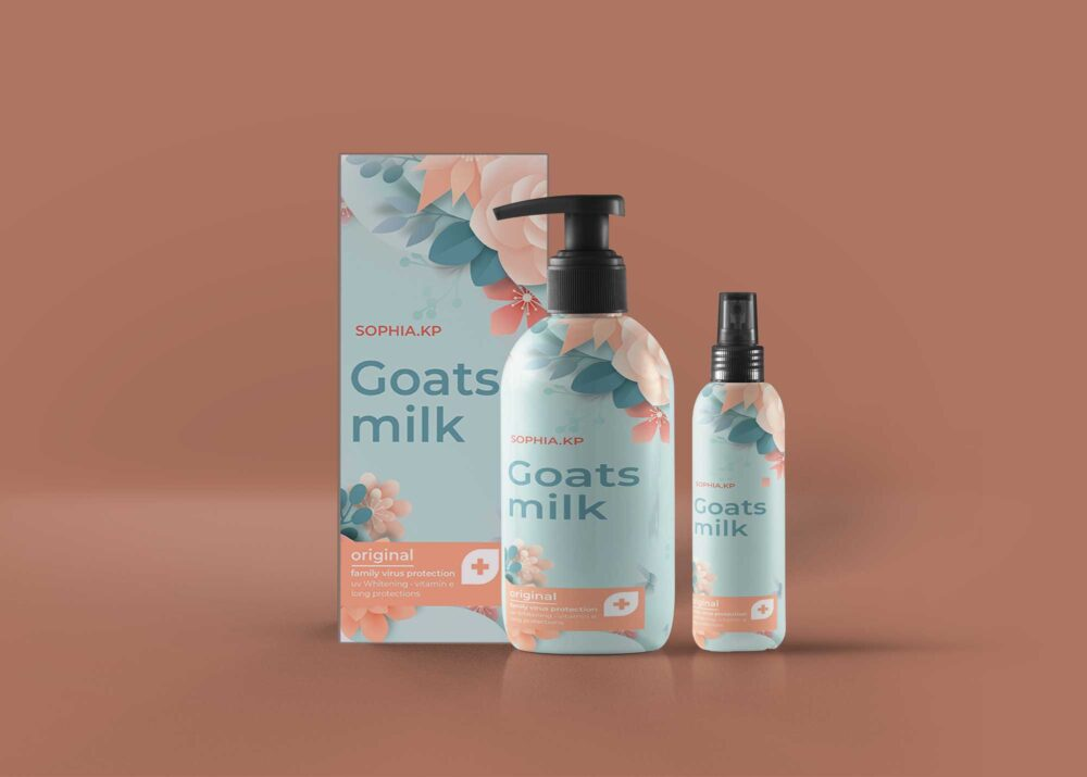 Goat Milk Cosmetic Products Mockup