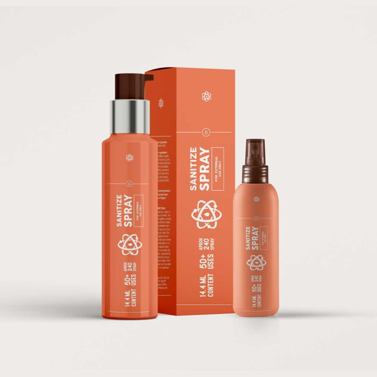 Sanitizer Spray Packaging Mock-up