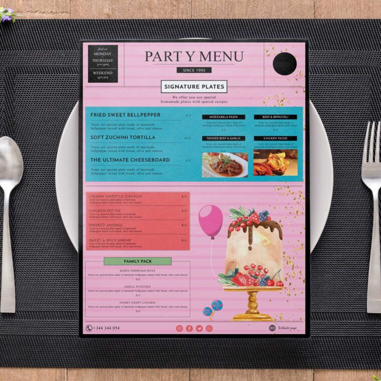 Birthday Party Menu Design Template