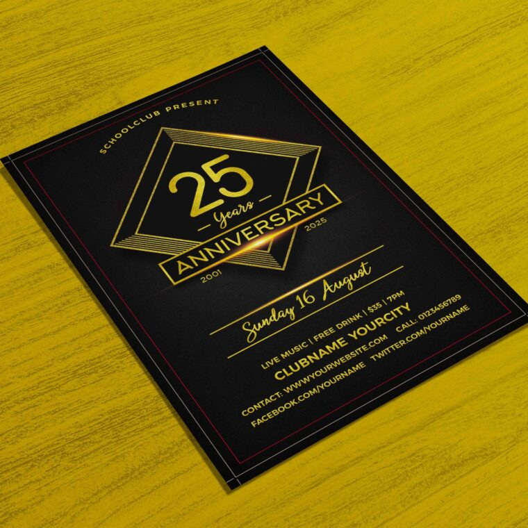Black- Gold Anniversary Flyer Template