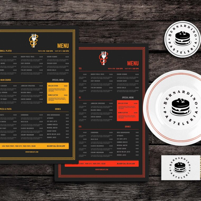Boogie Bites Food Menu Template