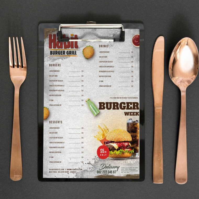 Habit Burger Grill Menu Design Template