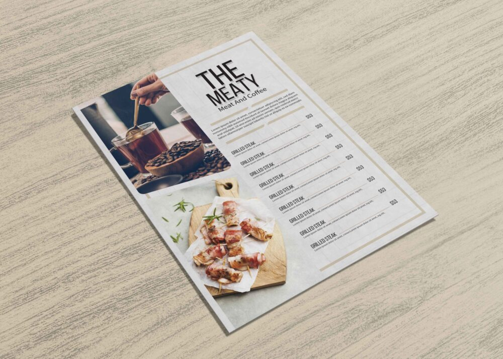 Meaty Coffee Menu Two Page Design Template