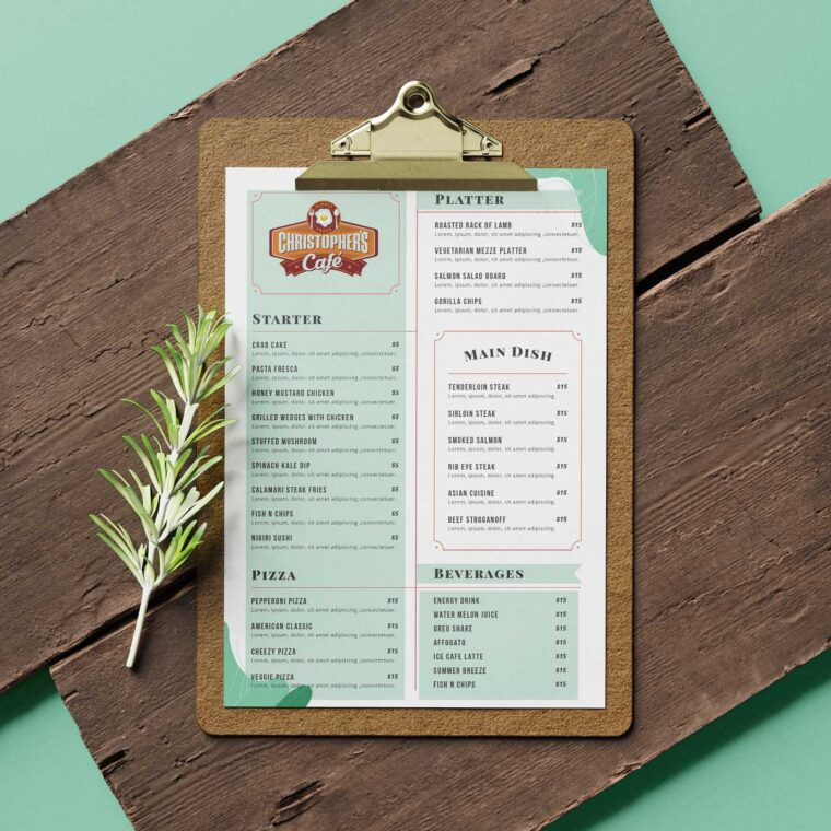 Christophers Cafe Food Menu Design Template