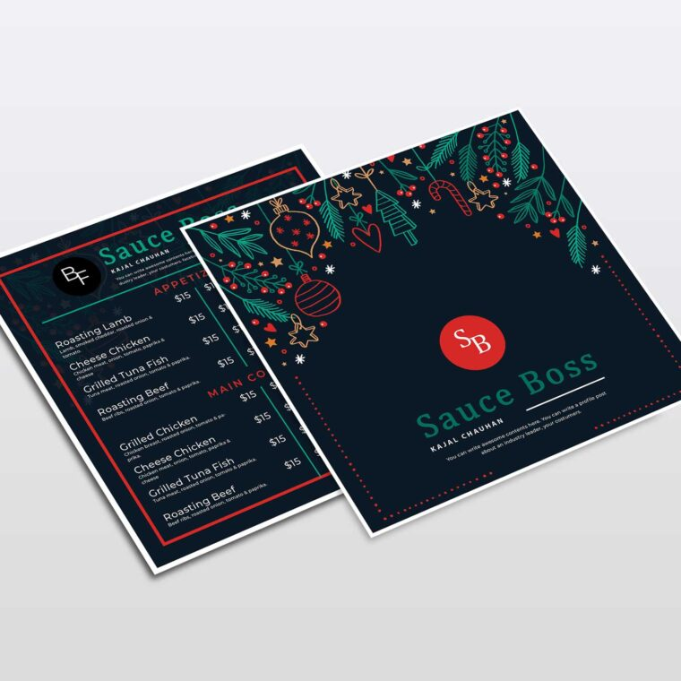 Christmas Square Menu Design Template
