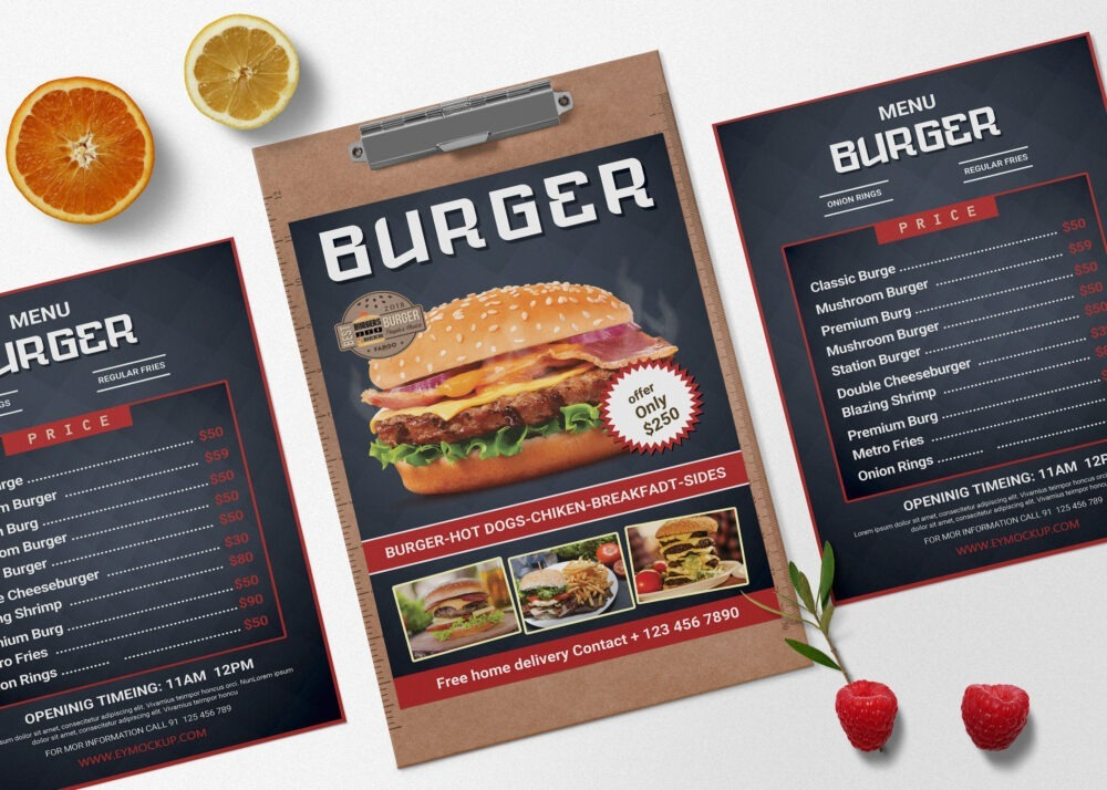 Burger PSD Menu Design Template