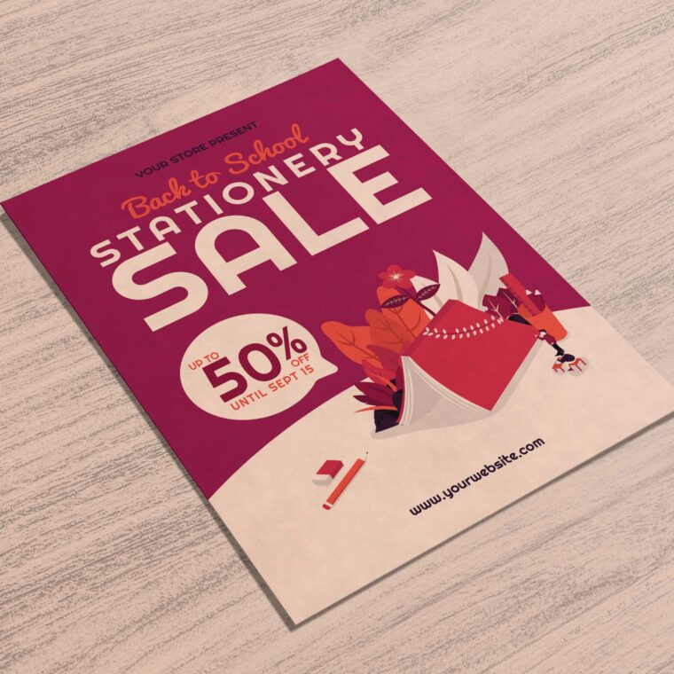 Stationary Sale Flyer Design 2020