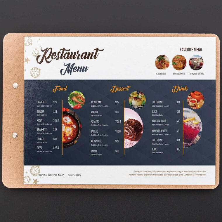 Elegant Restaurant Menu Design Templates