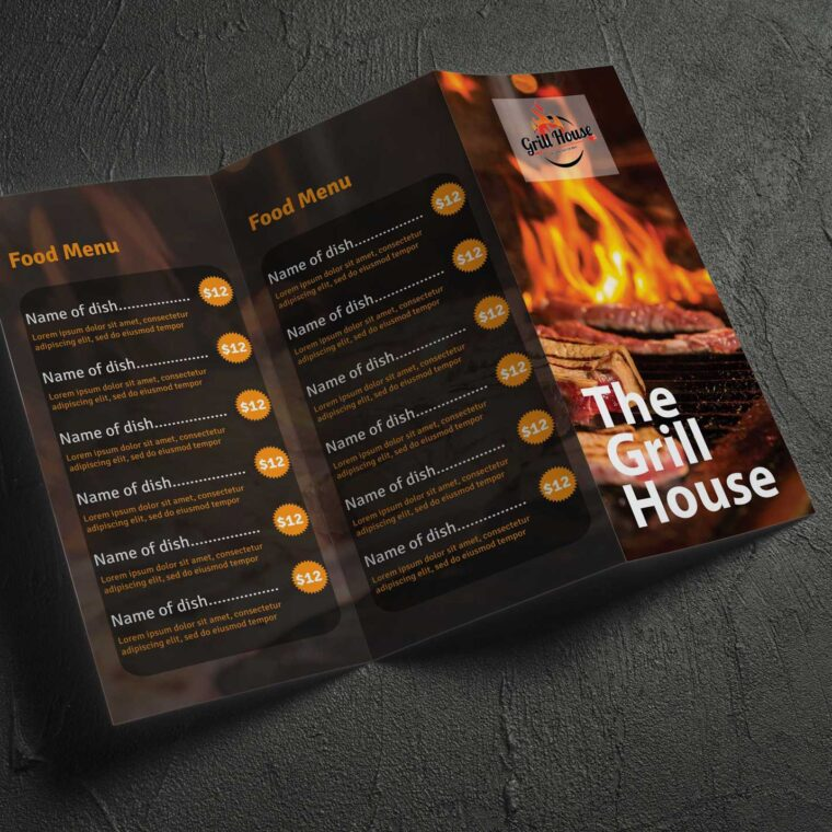 Grill House Menu Brochure Design Template