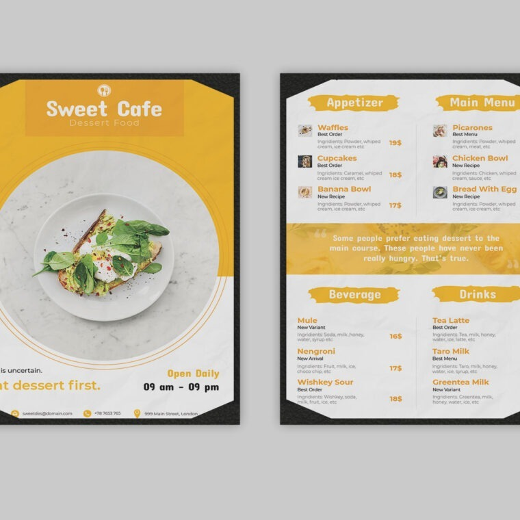 Dessert Menu PSD Template