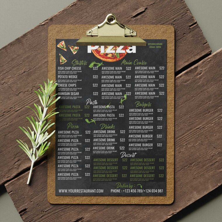 Italian Pizza Menu Design Template