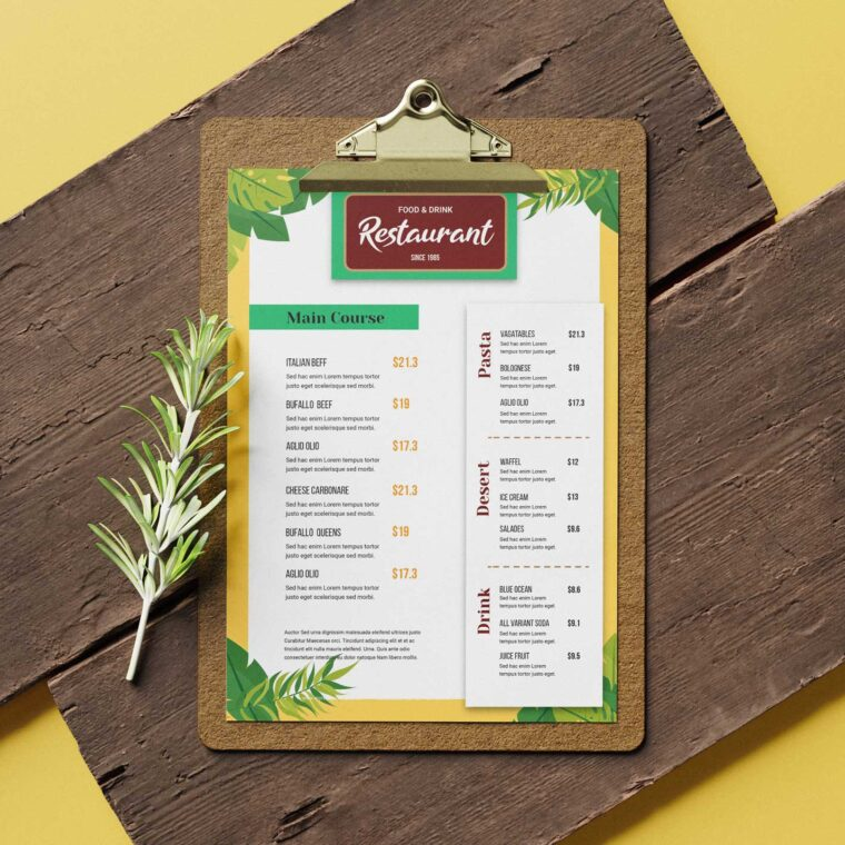 Jungle Restaurant Menu Design Template