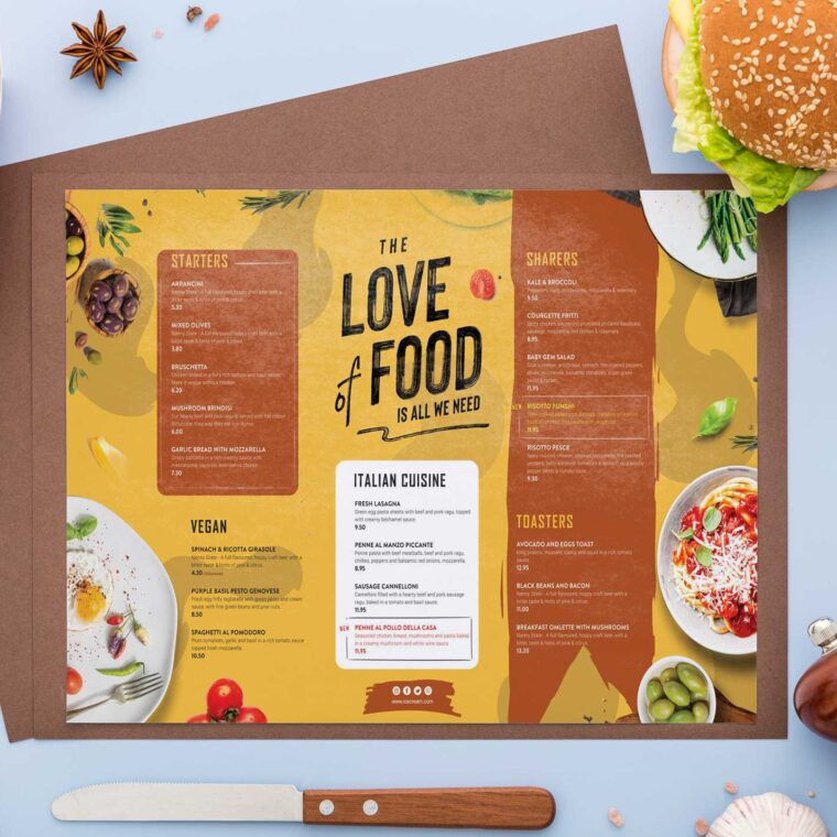 Love Of Food Menu Design Template