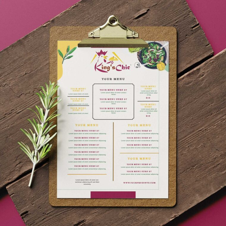Kings Special Salad Menu Design Templates