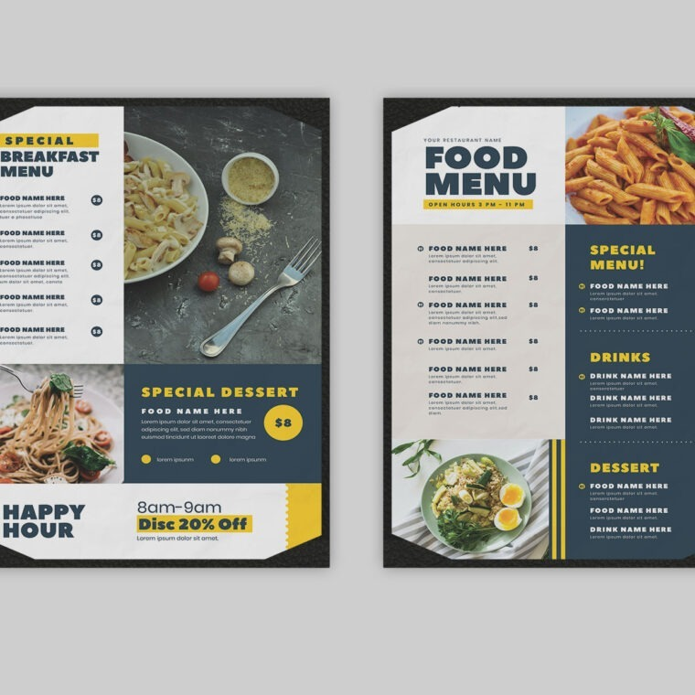 Modern Rustic Food Menu Template PSD