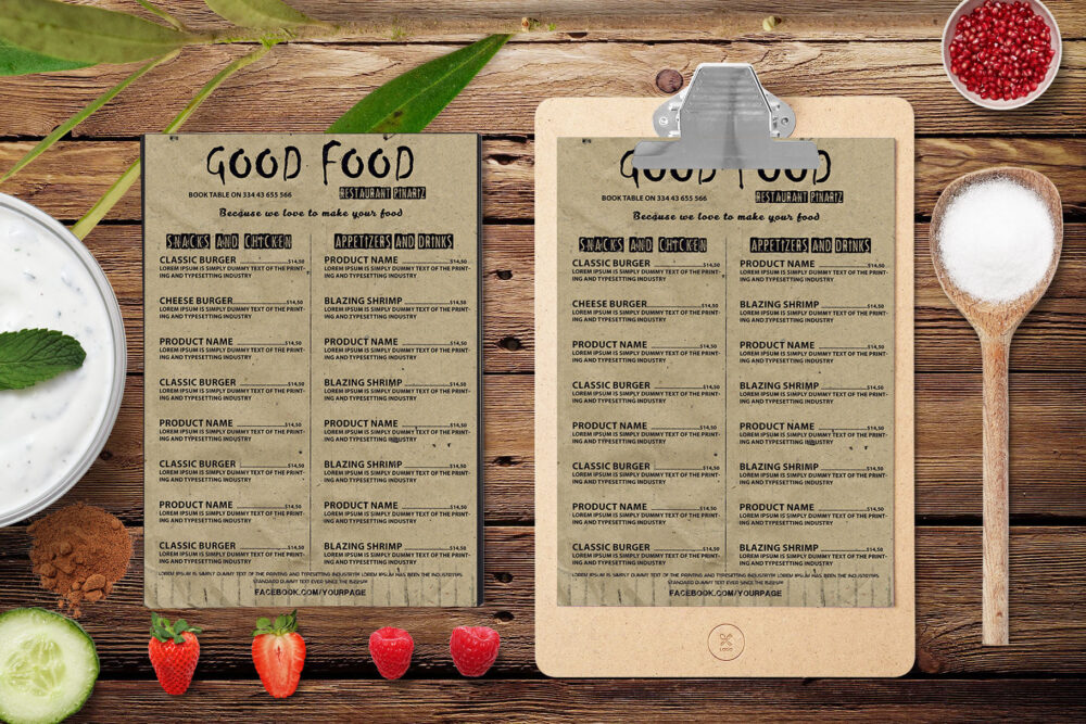 Good Food A4 Size Menu PSD Template