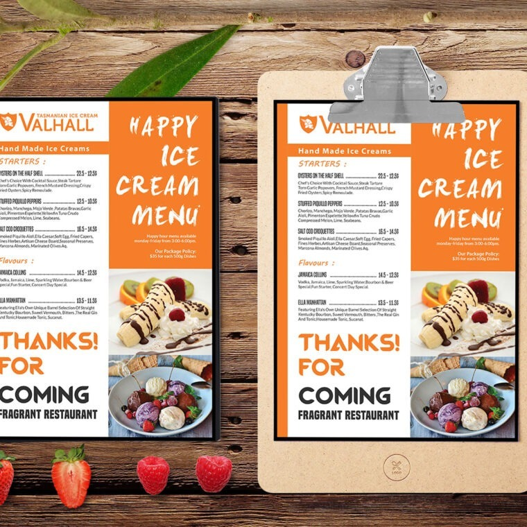Ice Cream A4 Menu PSD Template