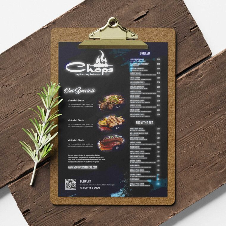 Chops Hotel Menu Design Template
