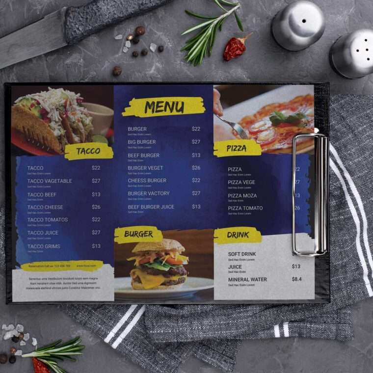 Pizza Burger Café Menu Design Template