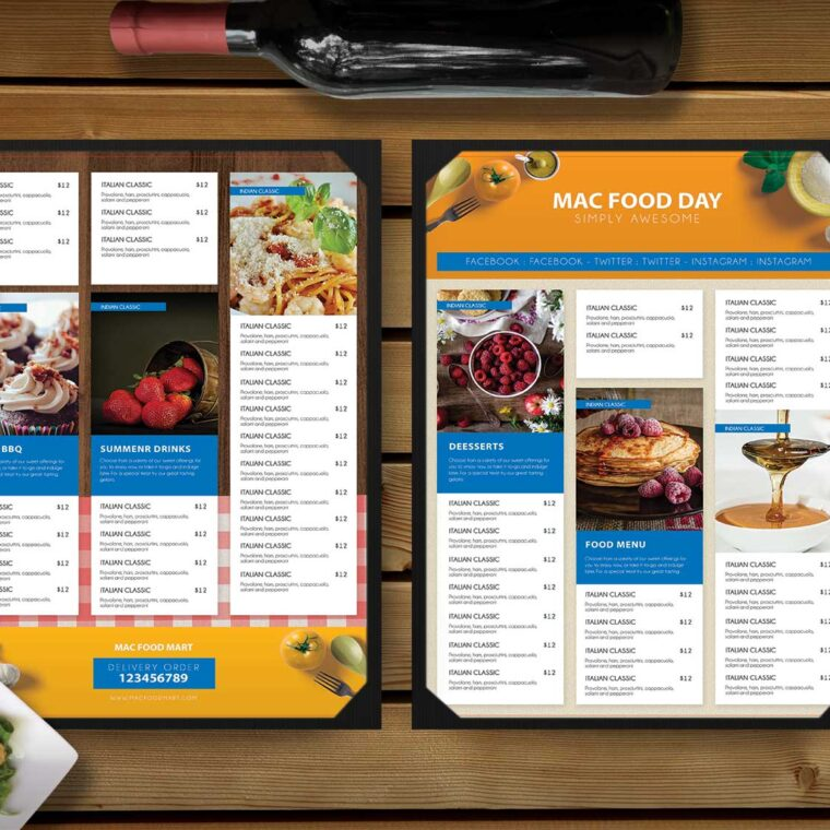 Food Snacks Menu Template