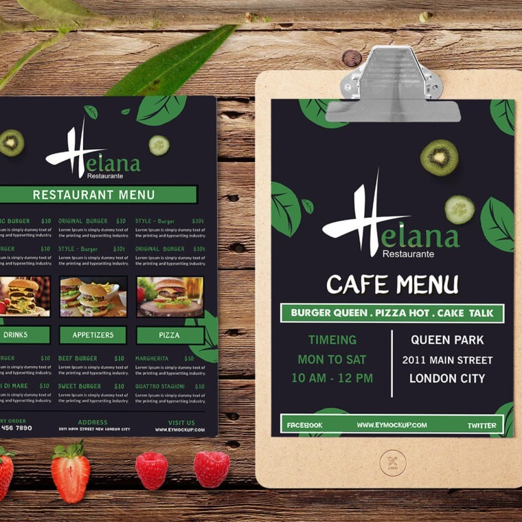 Burger Point A4 Two Page Menu PSD Template