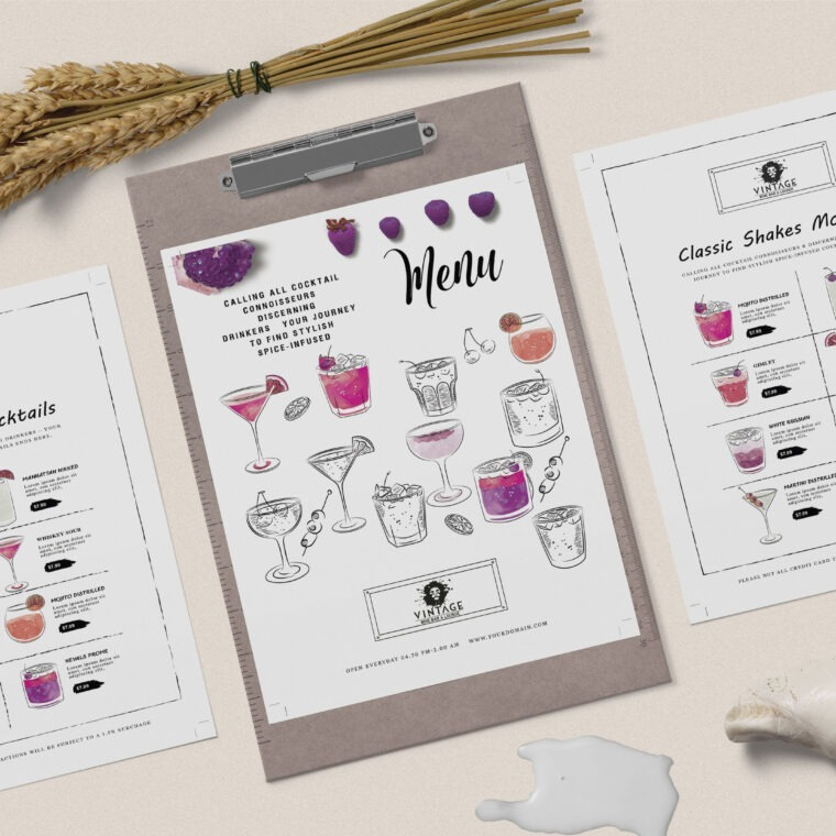 PSD Cafe Lounge Menu Template