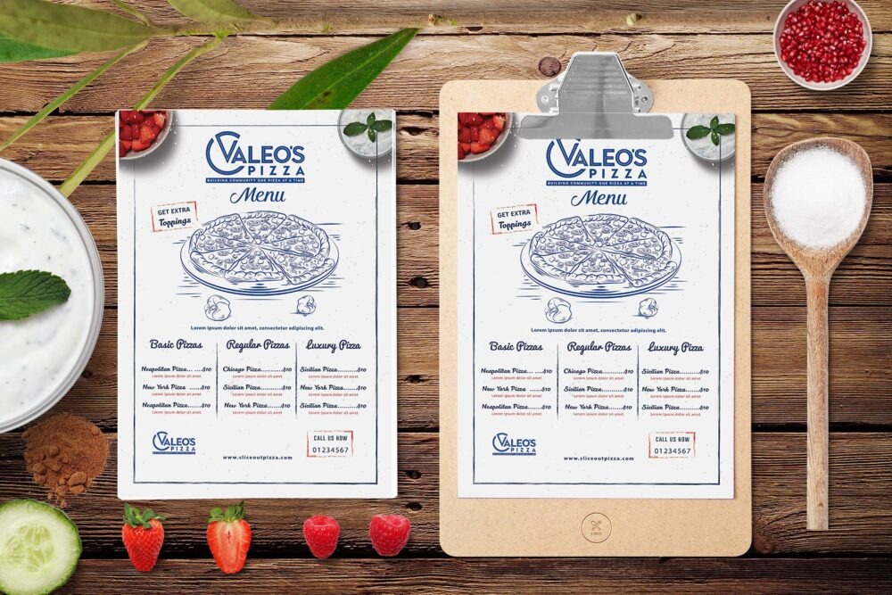 Valeos Pizza Restaurant Menu PSD Template