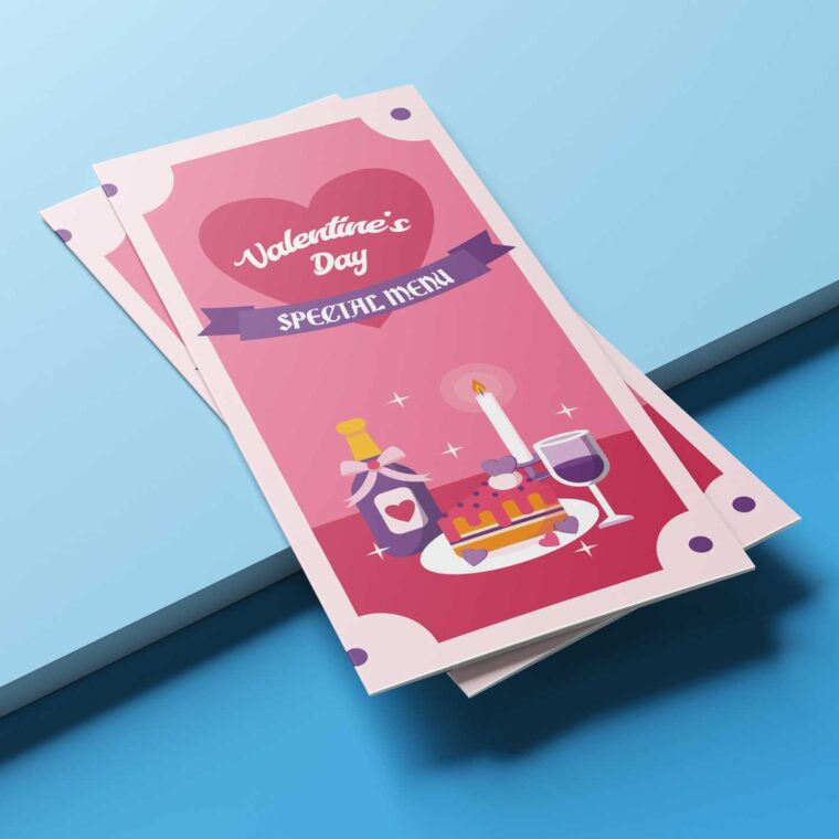 Pink Valentine Party Menu Design Template