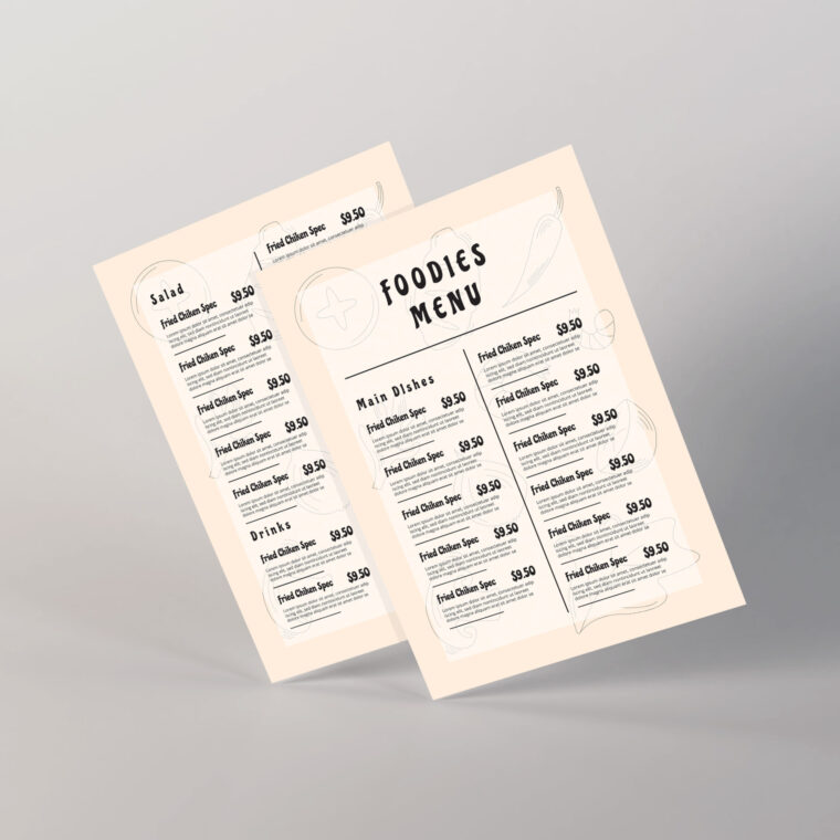Simple Restaurant Food Menu Old Vintage Design