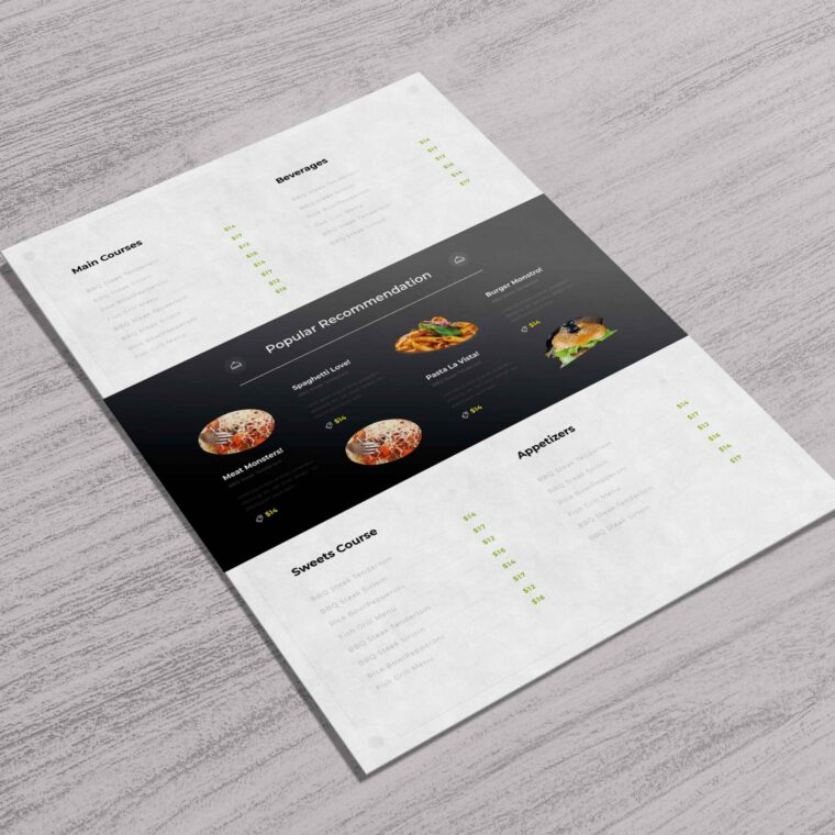 Warm Food Menu Template Design