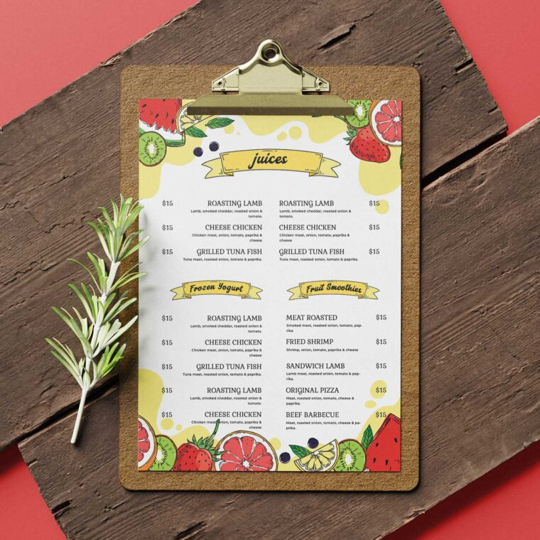 Fruit Juice Menu Design Template