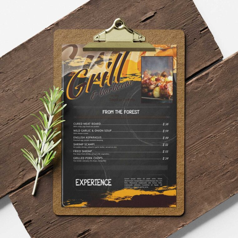 Barbecue Grill Menu Design Template