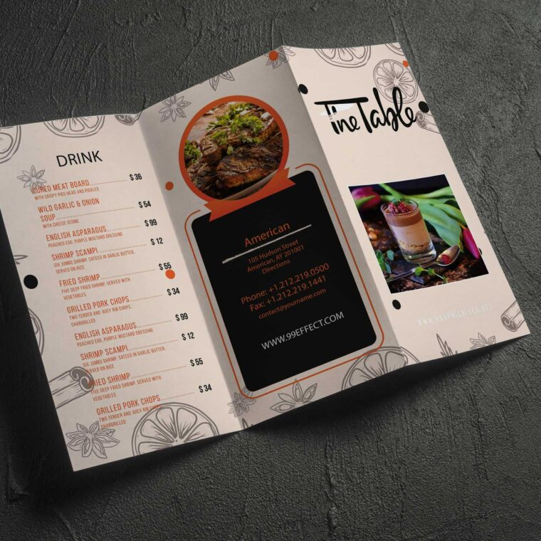 Vintage Food Menu Design Template