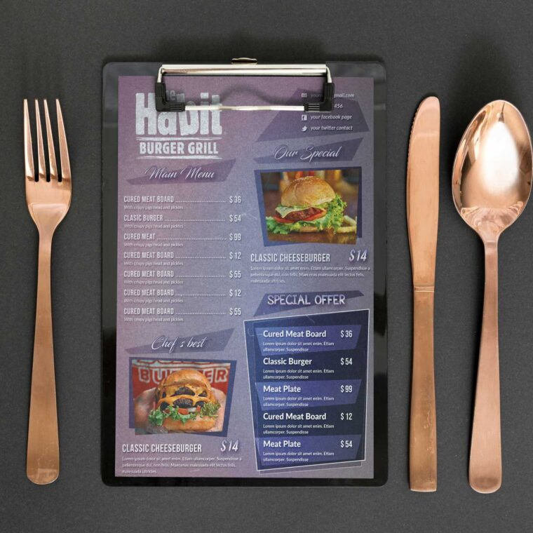 Western Grill Menu Design Template