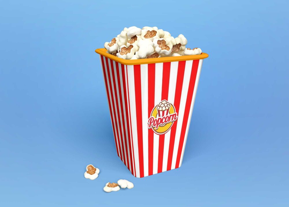 Chocolate Popcorn Box Mockup