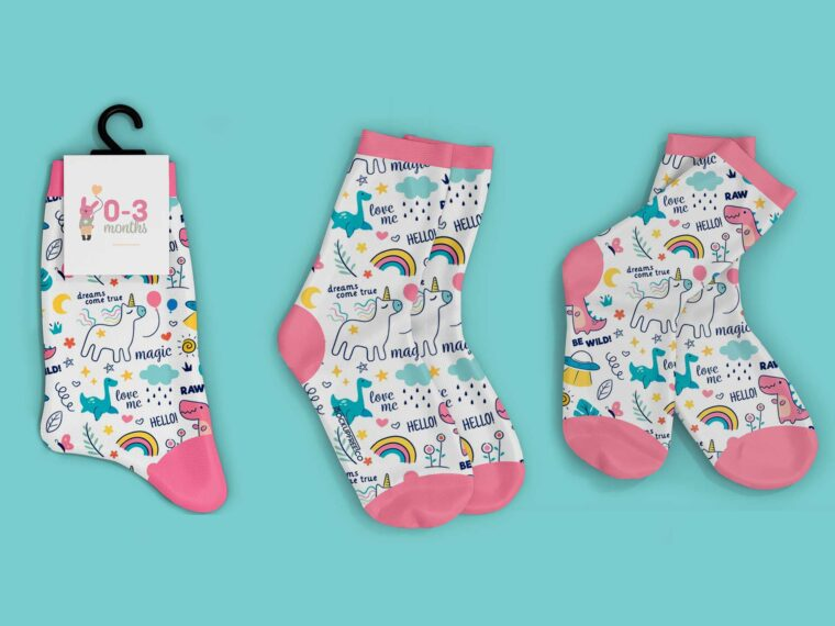 Small Baby Socks Mockup