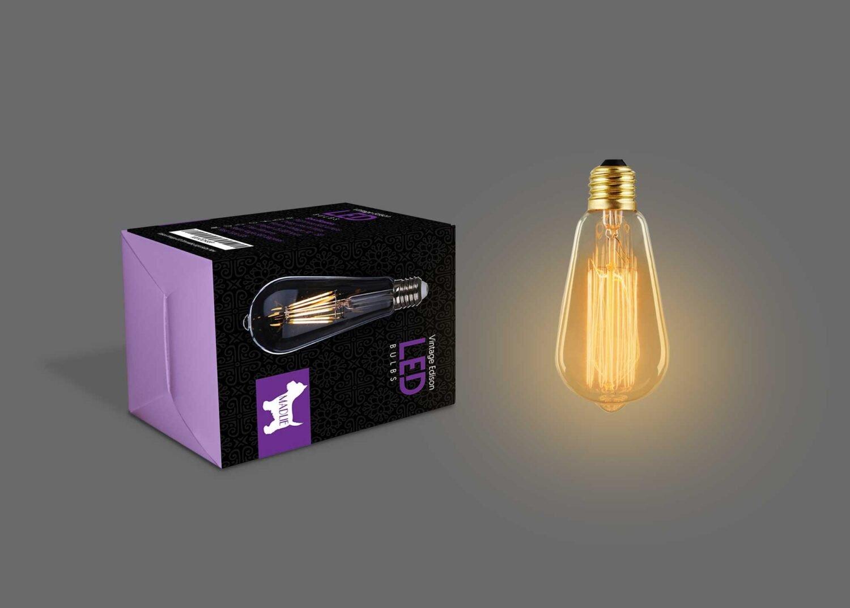 Vintage Edison Led Bulb Packaging Mockup
