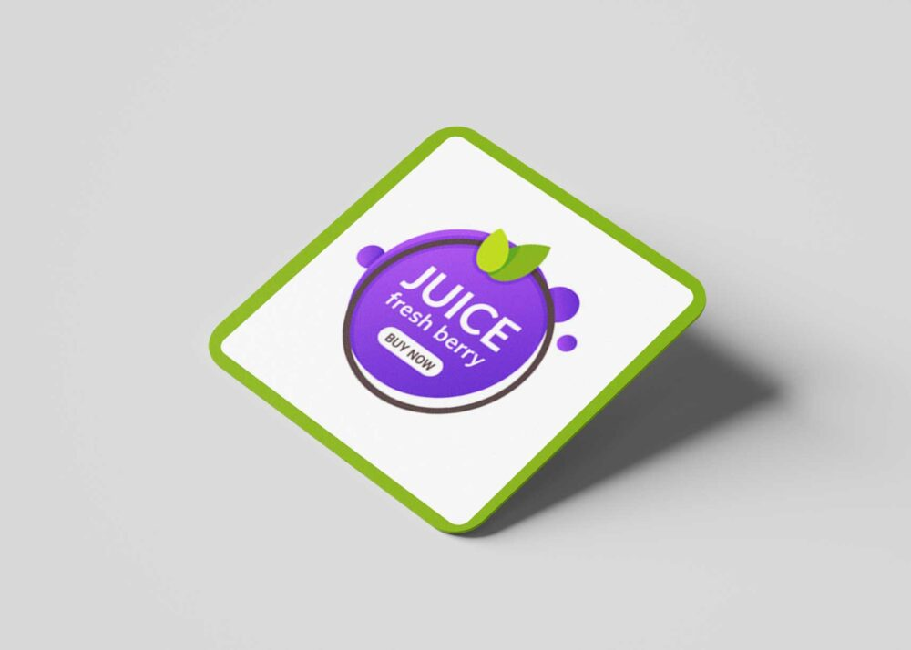 Square Juice Coaster Mockup